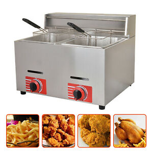 2 10l Stainless Steel 6 6kw h Commercial Countertop Gas Fryer Deep Gas Fryer