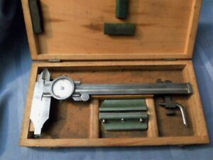 Vintage German Helios Combination Dial Caliper Height Gage In Wooden Box