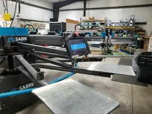 screen Printing Automatic Press 10 12 workhorse Saber In Production Today