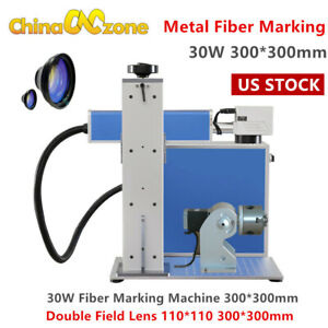 30w Fiber Laser Metal Marking Machine Engraver Two Field Lens W rotary Axis Us
