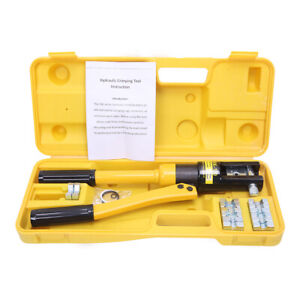 12 Ton Hydraulic Wire Battery Cable Lug Terminal Crimper Crimping Tool W Case