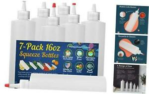 7 pack Plastic Condiment Squeeze Bottles 16 Ounce With Red Tip 16oz 7 Pack