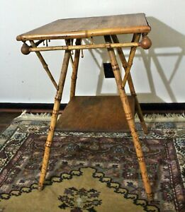 Antique English Victorian Bamboo Stick And Ball Occasional Side Accent Table