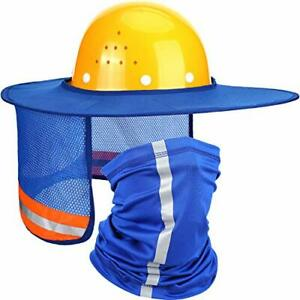 2 Pieces Hard Hat Sun Shade Neck Protection High Visibility Sun Neck Shield F