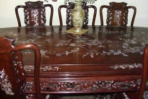 Antique Dinning Room Set Rosewood Carved With Mother Of Pearl Inlay