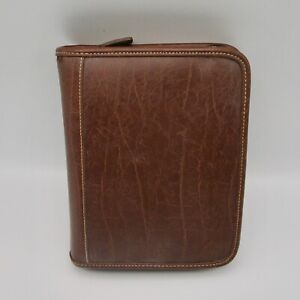 Franklin Covey Brown Planner Organizer Agenda Binder Zipper 6 Ring Faux Leather