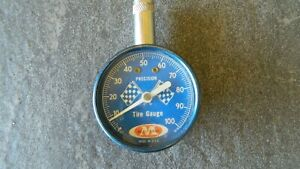 Vintage 60s Accu Gage Tire Pressure Gauge W Checkered Racing Flags Blue Face