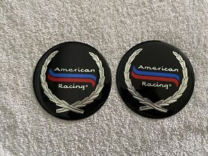 Set Of 2 American Racing Sticker Center Cap Decals Excellent Cond 4 25 Inch