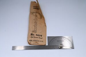 Vintage Craftsman Stainless Steel Rectangle Head Protractor 4029 With Packaging