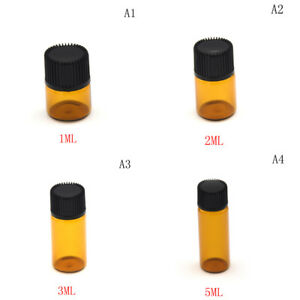 5pcs 1 2 3 5ml Small Cute Glass Vials Bottles Brown Containers With Screw Cap Is