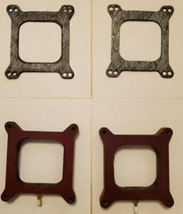 Pair Of 1 Open Phenolic Carburetor Spacers Fit Holley 850 With Vacuum Fitting