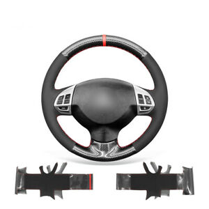 Smooth Pu Carbon Fiber Leather Car Steering Wheel Cover For Mitsubishi Lancer Ex