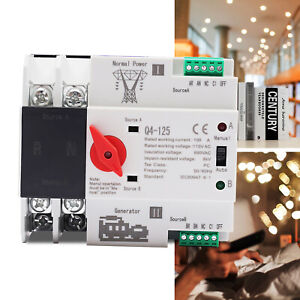 Automatic Transfer Switch 2p 100a 110v Dual Power Grid Power To Ac Generator
