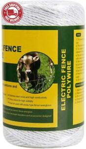 Farmily Portable Electric Fence Polywire 656 Feet 200 Meter 6 Conductors Whit