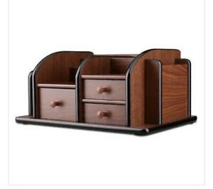 Classic Brown Wood Office Supplies Desk Organizer Rack With 3 Drawers 2 Shelves