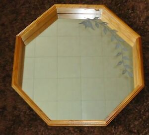 Vintage Vine Etched Octagon Shadow Box Wood Frame Mirror Large 20 X 20 Beauty A