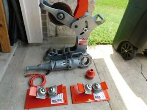 Ridgid 258 Xl 8 To 12 Power Pipe Cutter W Ridgid 700 Power Drive Pipe Rollers