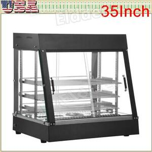 35 Commercial Food Warmer Display Hot Food Countertop Heated Cabinet 3 Tier
