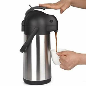 Cresimo 2 2 Liter Airpot Thermal Coffee Carafe With Pump lever Action stainle
