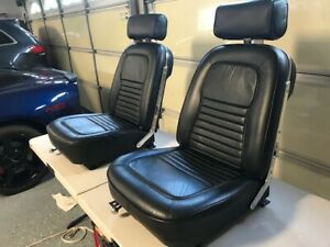 1967 Corvette Black Leather Bucket Seats With Headrests Excellent Condition