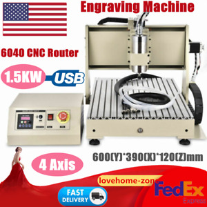 4 Axis 6040 Cnc Router Engraver Usb Mill Carving Engraving Cutter Machine 1 5kw