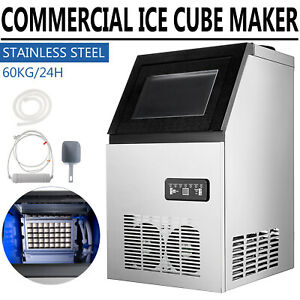 132lbs Built in Commercial Ice Maker Stainless Steel Restaurant Ice Cube Machine