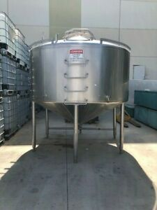 Mueller 1500 Gallon Stainless Steel Jacketed Mixing Tanks With Gearmotor