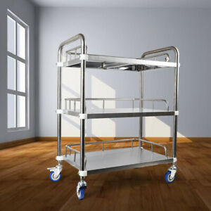 Lab 3 Layers Clinic Hospital Serving Cart Trolley Omnidirectional Lockable Wheel