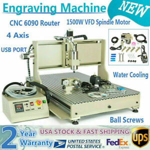 Usb 4axis Cnc 6090 1 5kw Router Engraver Cutting 3d Milling Drilling Machine Top