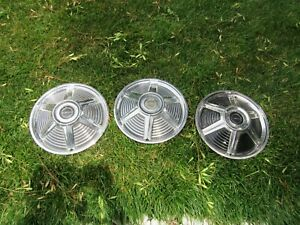 3 1965 Ford Mustang One Hubcaps Wheelcovers Center Caps Fomoco Antique Vintage