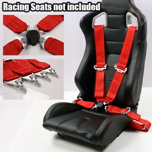 1 X Universal Snap on Red 3 4 point Safety Harness Racing Buckle Seat Belt