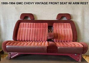 1988 1994 Vintage Chevy Gmc C1500 K1500 Front Bench Seat Red W Arm Rest Oem