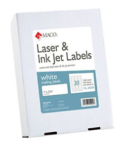 Maco Laser ink Jet White Address Labels 1 X 2 5 8 Inches 250 Sheets 7500 Per