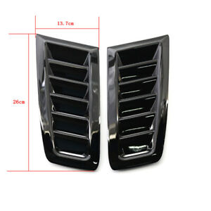 2x Car Hood Vent Louver Scoop Cover Air Flow Intakegloss Black Universal Fits 2005 Ford Mustang