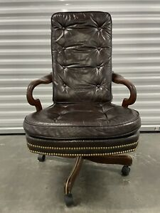 Vintage Hickory Chair Co Leather Gooseneck Wood Office Chair Armchair W Wheels