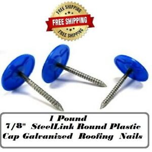 7 8 Steellink Round Plastic Cap Galvanized Roofing House Wrap Nails 1 Lb