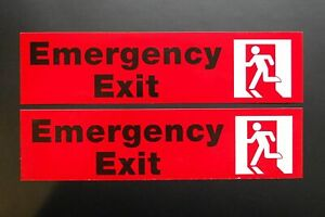 2 Pack Emergency Exit Sticker Vinyl Decal Sign 8 X 2 Self Adhesive x2ps41
