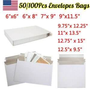 Pack Of 50 100 Rigid Shipping Mailers Paper Envelopes Bags W self adhesive Strip