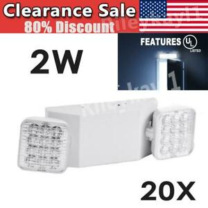 20 Pack Led Emergency Exit Light Adjustable 2 Head With Battery Back up Ul 924