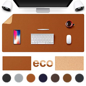 Tesobi Large Natural Cork Leather Desk Pad Double sided Desk Protector Mouse