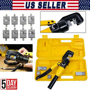 10 Ton Hydraulic Wire Crimper 8 Dies Lug Cable Force Crimping Tool Kit 4 70mm Us