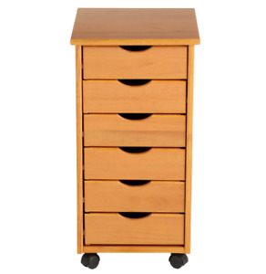 Pine Mobile Storage Cart Wood 6 Drawers Home Office Storage Cabinet Furniture