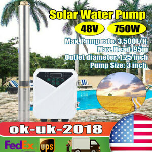 3 Solar Submersible Bore Hole Deep Well Water Pump Mppt Controller 750w 1hp 48v
