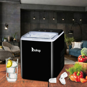 Portable Ice Maker Machine Countertop Cube 40lb 24h Self clean With Scoop Black
