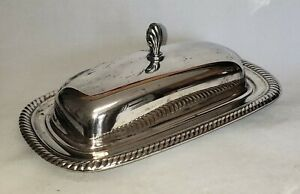 Vintage International Silver Co Silver Plated Covered Butter Dish