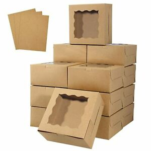 Hawhawtoys Bakery Boxes With Window 6 X 6 X 3 Inches Cookie Brown