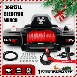 X Bull 14500lbs Electric Winch Synthetic Rope Off Road Trailer Truck Jeep 12v Dc