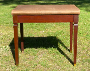 Vintage Wood Piano Bench Stool With Storage Cushion Vanity Stool Seat