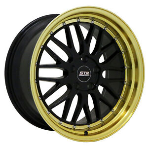 20x8 5 5x110 Str601 Gloss Black Gold Lip Made For Jeep Renegade