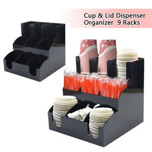3 layer 9 Cells Coffee Cup And Lid Holder Organizer Condiment Caddy Rack Stand